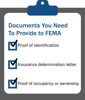 Documents you need to present FEMA